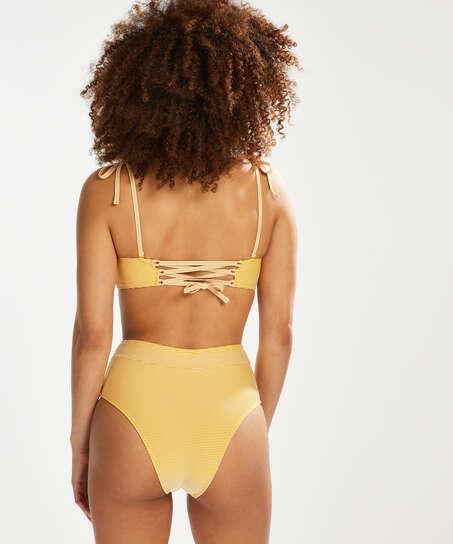 Bas de bikini coquin taille haute Carmel, Jaune