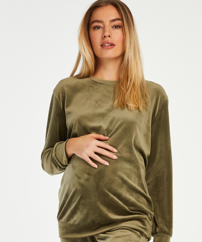 Top de grossesse en velours , Vert, main