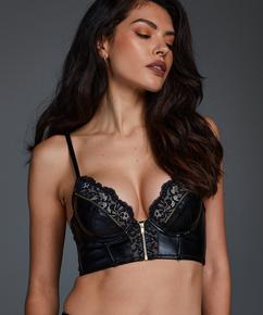 Soutien-gorge à armatures préformé longline Talia Taille E +, Noir