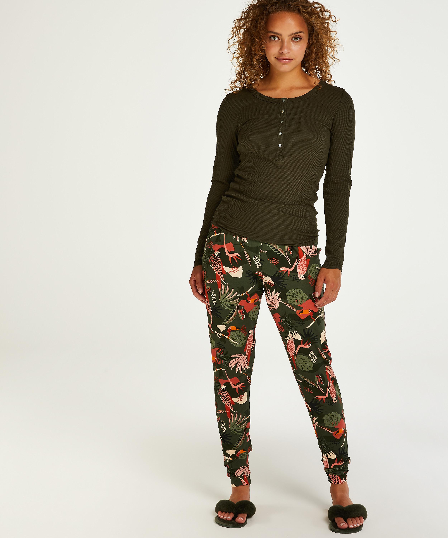 Pantalon de pyjama long Jersey, Vert, main