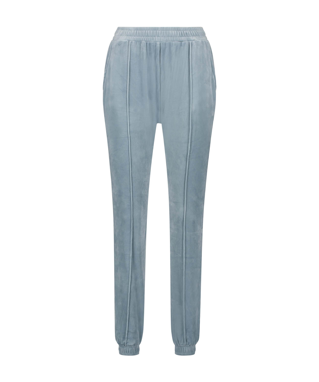 Petite Pantalon Jogging Velours Pintuck, Bleu, main