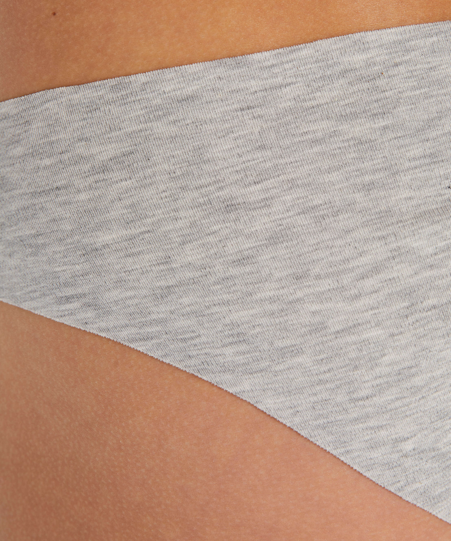 Slip brésilien invisible en coton, Gris, main