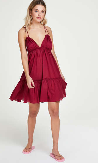 Robe de plage Tiered, Rouge