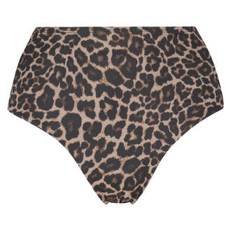 Bas de bikini coquin taille haute Leopard, Beige