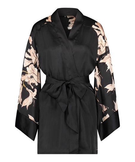 Kimono Satin Bloom, Noir