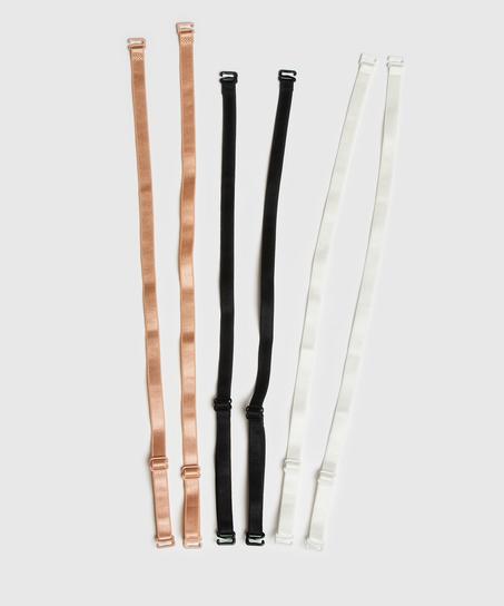 3 bretelles de soutien-gorge basiques, Noir