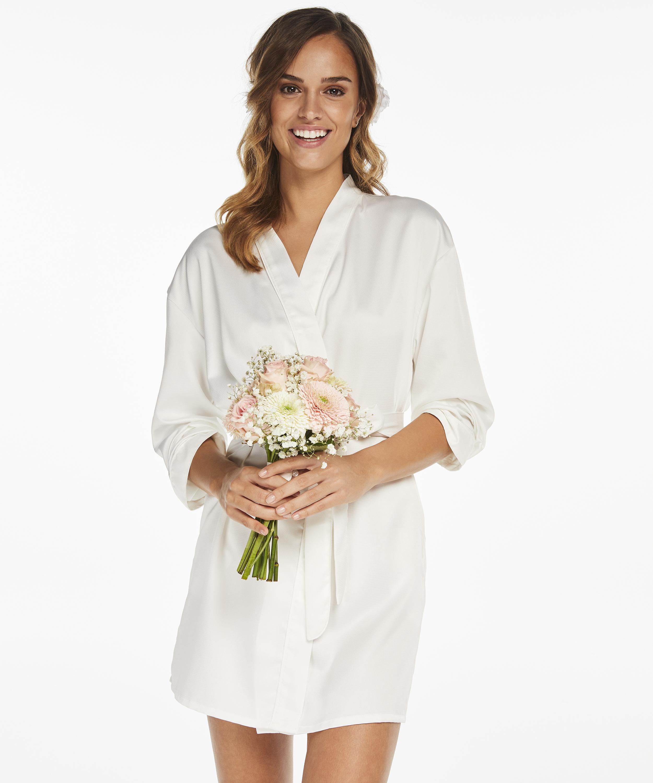 Kimono Satin Bridal, Blanc, main
