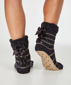 Chaussettes pour pantoufles Chenille Lurex, Gris
