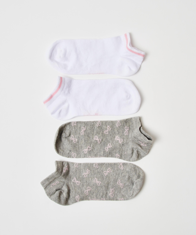 Lot de 2 paires de chaussettes en coton Trainerliners , Gris, main