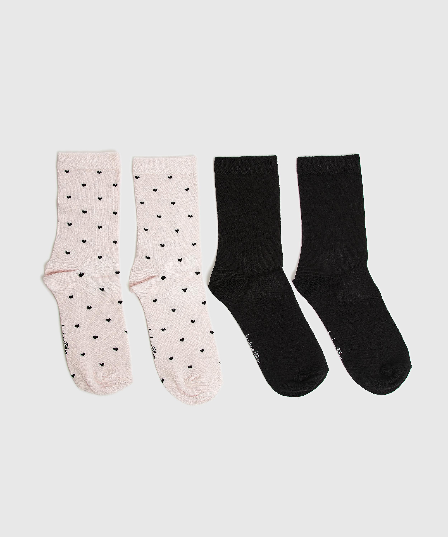 2P de chaussettes Viscose, Rose, main