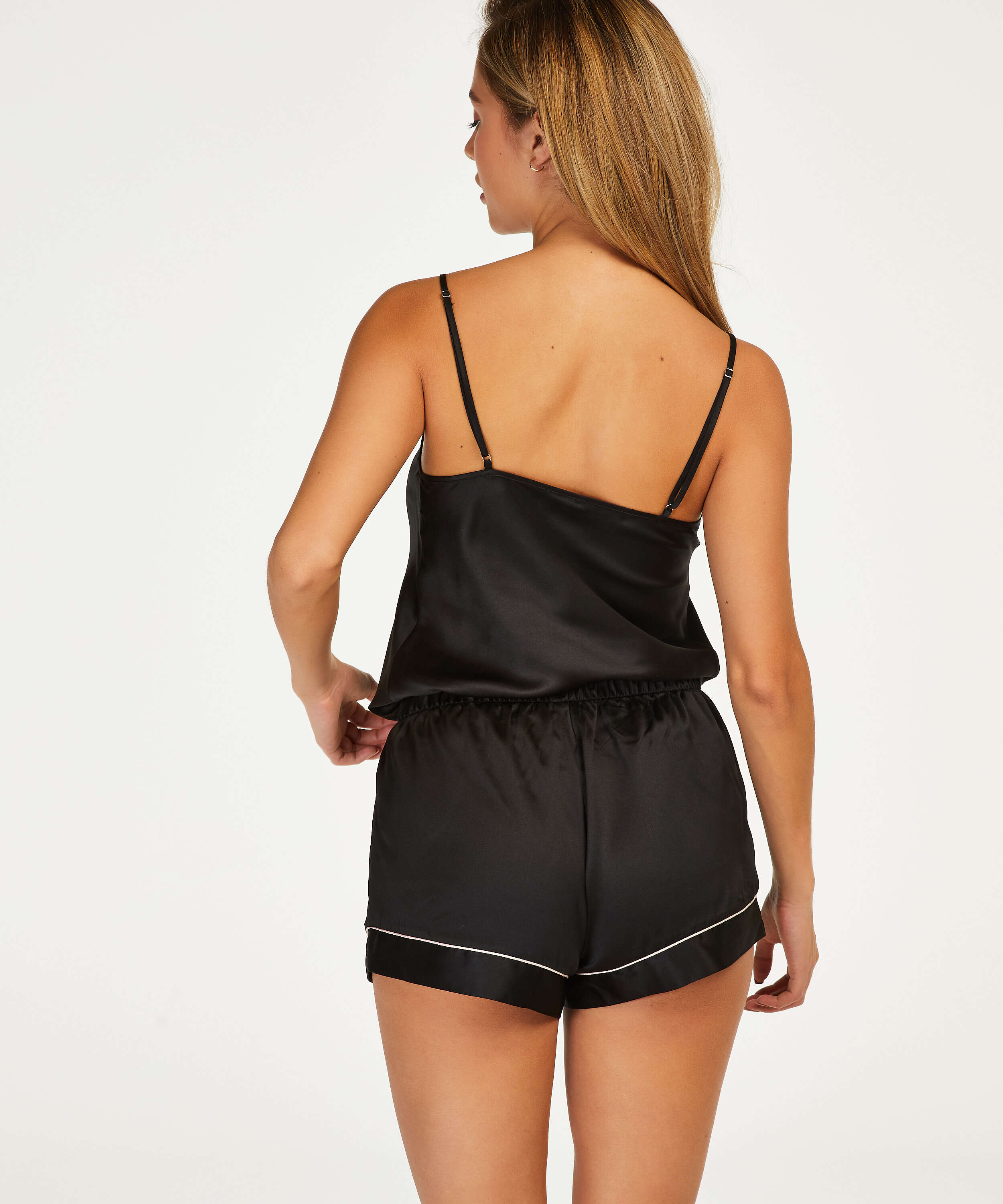 Short de pyjama satin lace, Noir, main