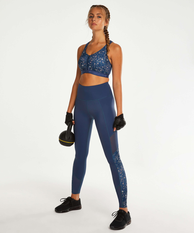 HKMX Legging de sport taille haute, Bleu, main