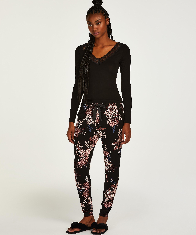 Pantalon de pyjama Tall Ditzy Floral, Noir, main