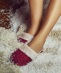 Pantoufles tricotées, Rouge