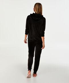 Haut de pyjama à manches longues en velours, Noir