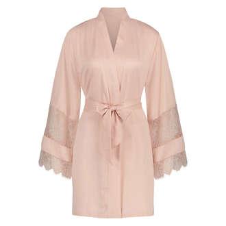 Kimono Satin en dentelle, Rose