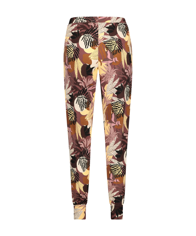 Pantalon de pyjama Jersey Abstract Leaf petite taille, Rose, main