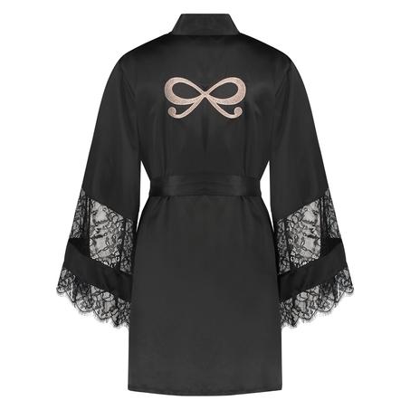 Kimono Satin en dentelle, Noir