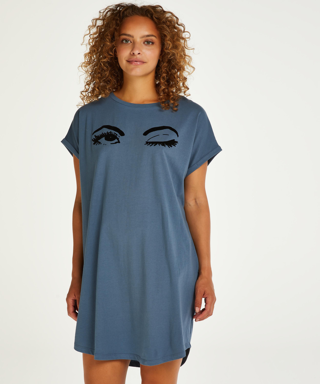Chemise de nuit col rond, Bleu, main