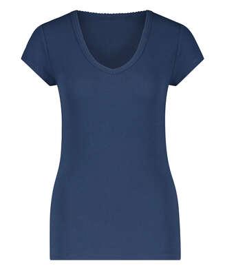 Haut de pyjama côtelé à manches courtes, Bleu