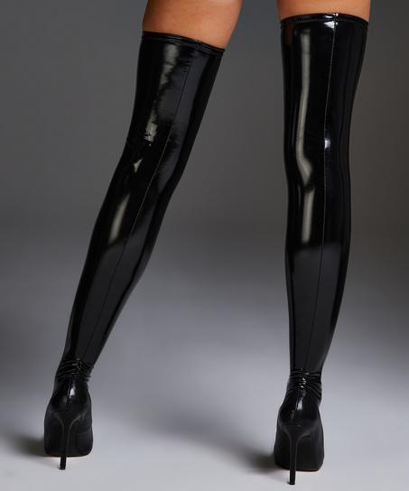 Bas autofixants Private look cuir, Noir