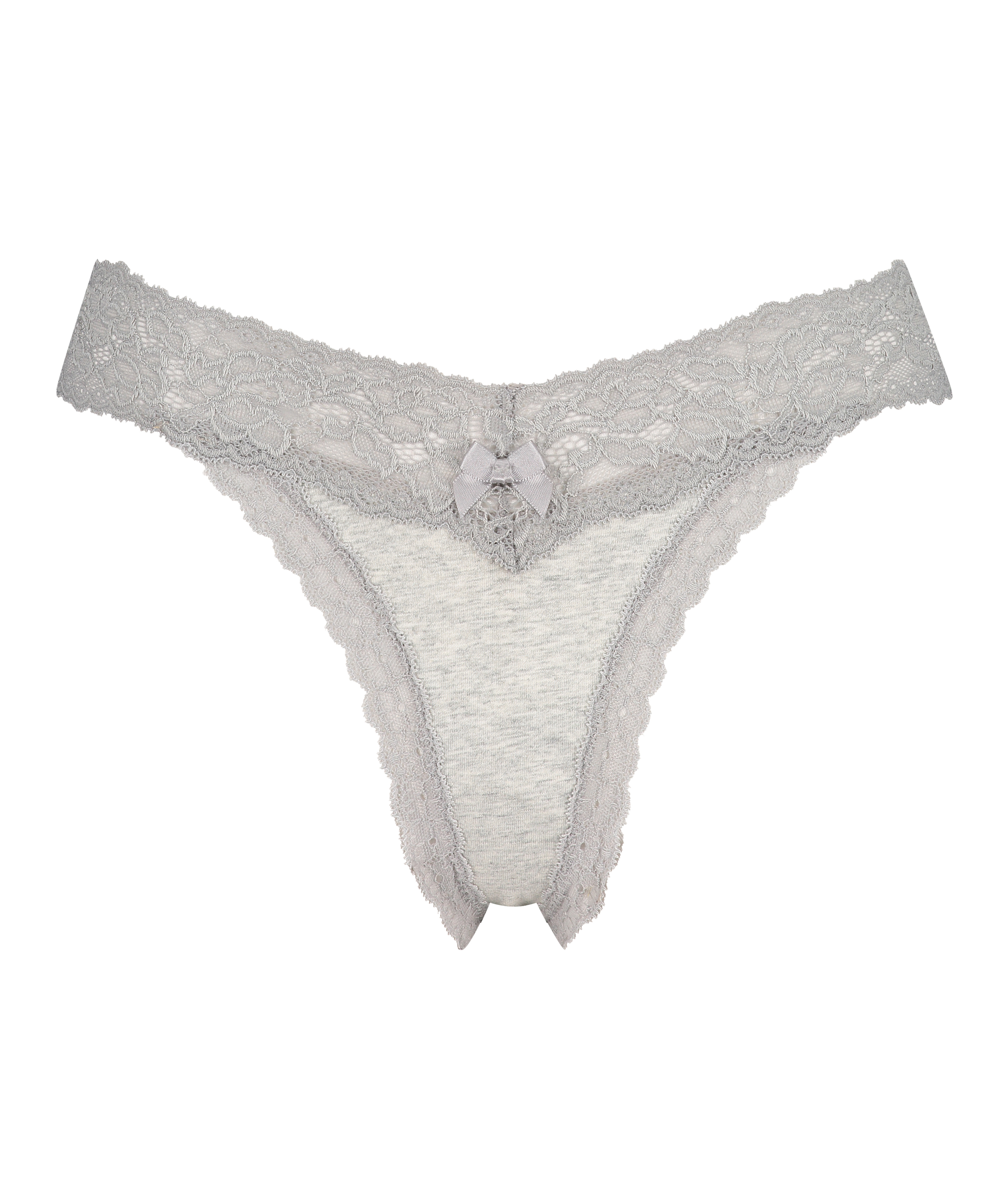 String taille extra basse en coton, Gris, main