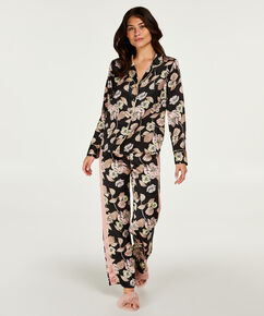 Haut de pyjama satiné Emily, Noir