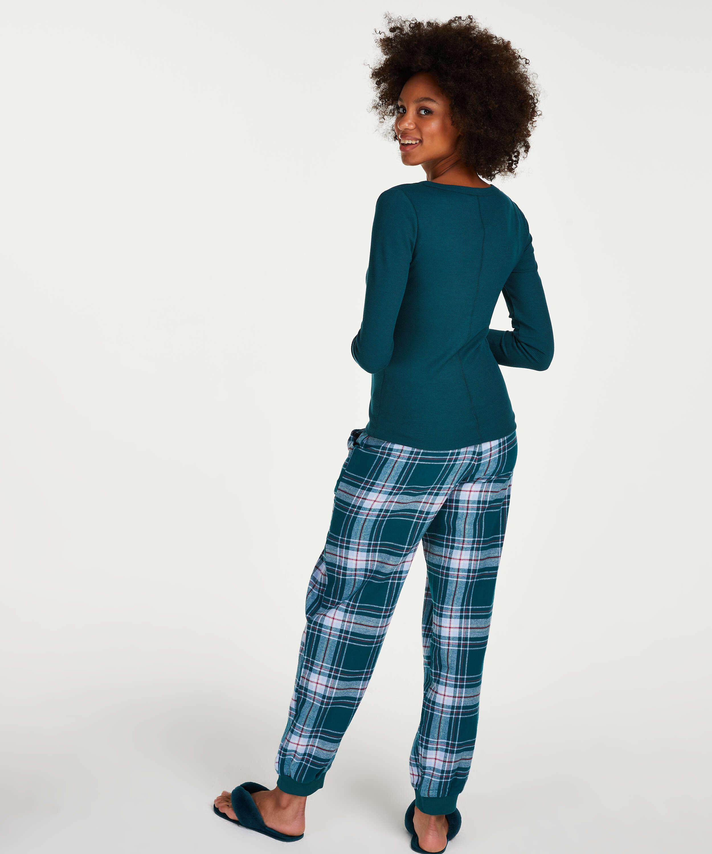 Haut de pyjama à manches longues, Bleu, main