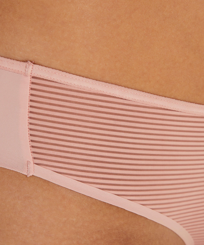 Slip brésilien invisible Stripe mesh, Rose, main
