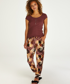 Pantalon de pyjama Jersey Abstract Leaf, Rose