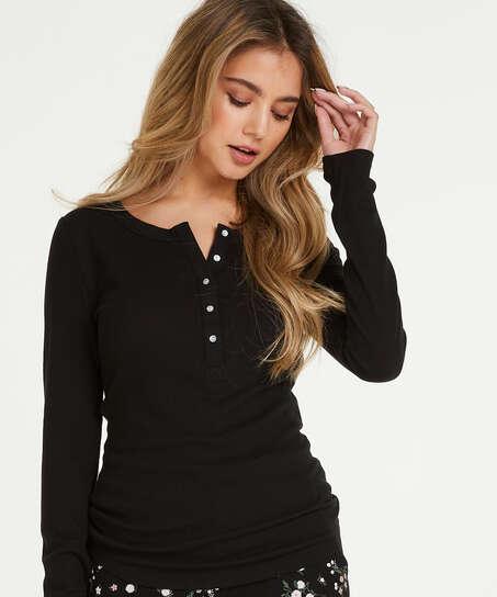 Haut de pyjama à manches longues, Noir