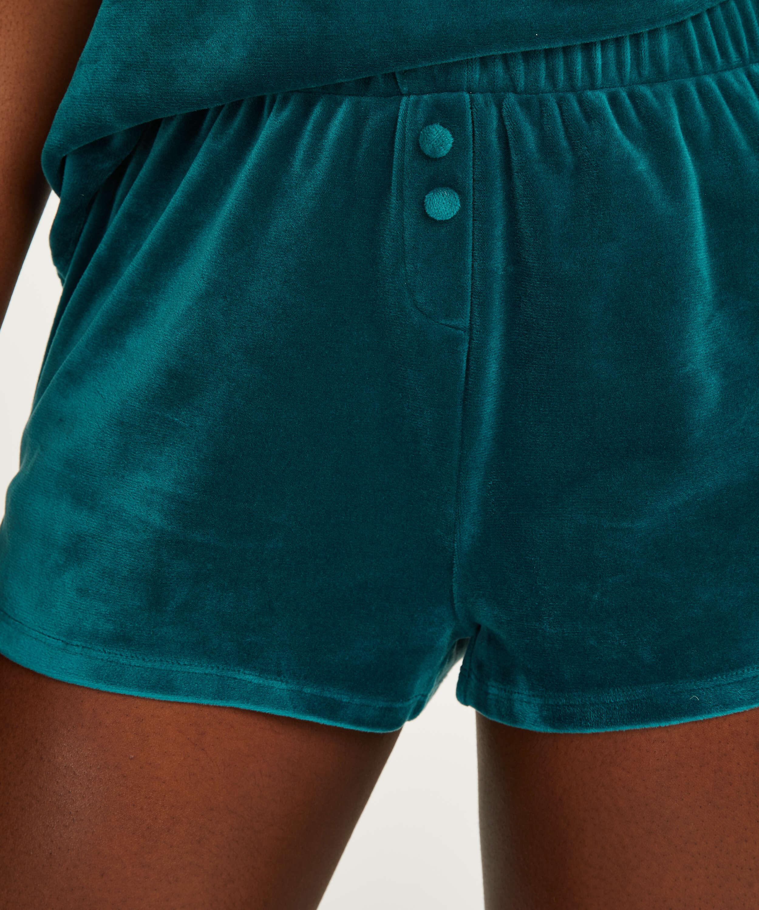 Short Velours, Gris, main