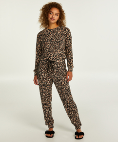 Pantalon Brushed Jersey, Beige