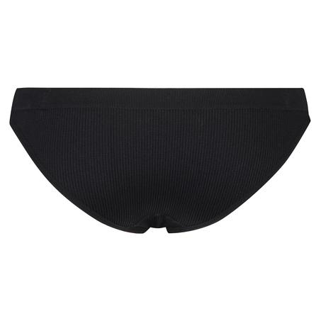 Slip brésilien taille haute sans couture, Noir