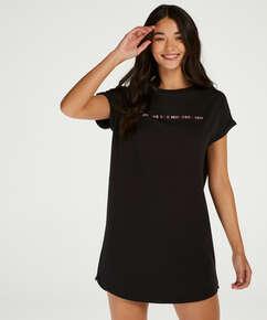 Chemise de nuit à encolure arrondie, Noir
