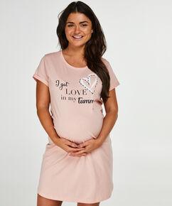 T-shirt de nuit grossesse à manches courtes, Rose