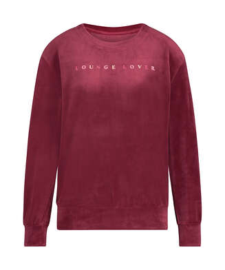 Top Velours manches longues, Rouge