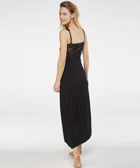 Longue nuisette Modal Lace, Noir