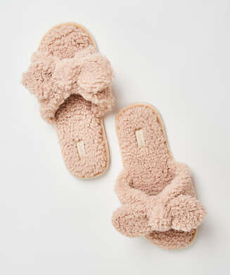Chaussons velours Teddy, Beige