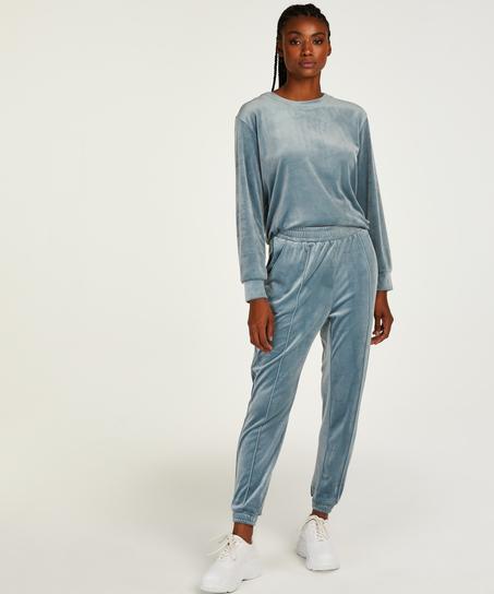 Tall Pantalon Jogging Velours Pintuck, Bleu