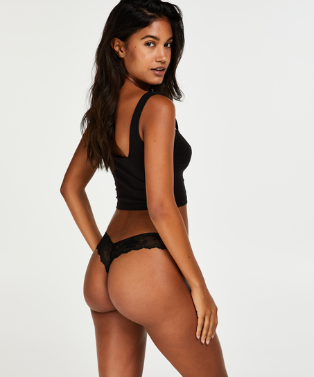String Invisible Lace back, Noir