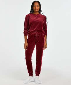 Pantalon de jogging Velours Stripe, Rouge