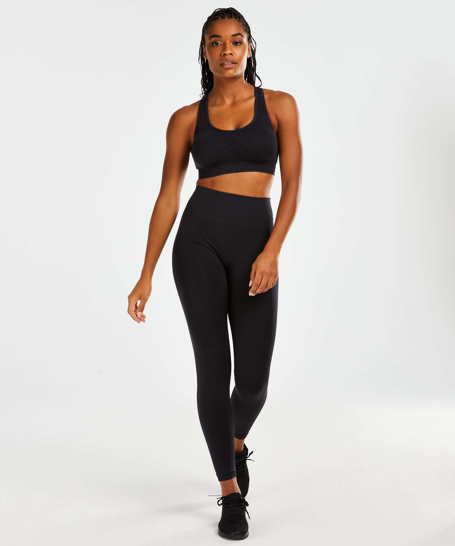 Legging de sport sans coutures taille haute Flex HKMX, Noir, main