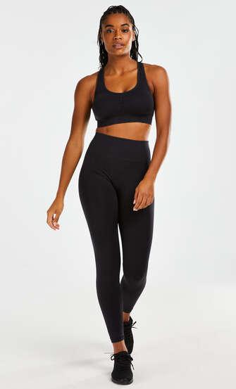 Legging de sport sans coutures taille haute Flex HKMX, Noir